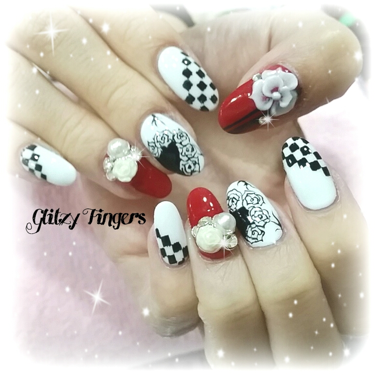nails + nailart + nailstagram + naildesigns + sgnails + prettynails + gelnails + nailartoftheday + gelish + gelishnails + nailgasm + sgignails + singaporenails + pinkroomnails + angelpronail + cutenails + manicure + angelprogelly + sgig + nailfashion + nailartist + potd + floral nails + checkered nails + studded nails + 3D nails + party nails + nail trend of the month + nailspiration + cool nails +