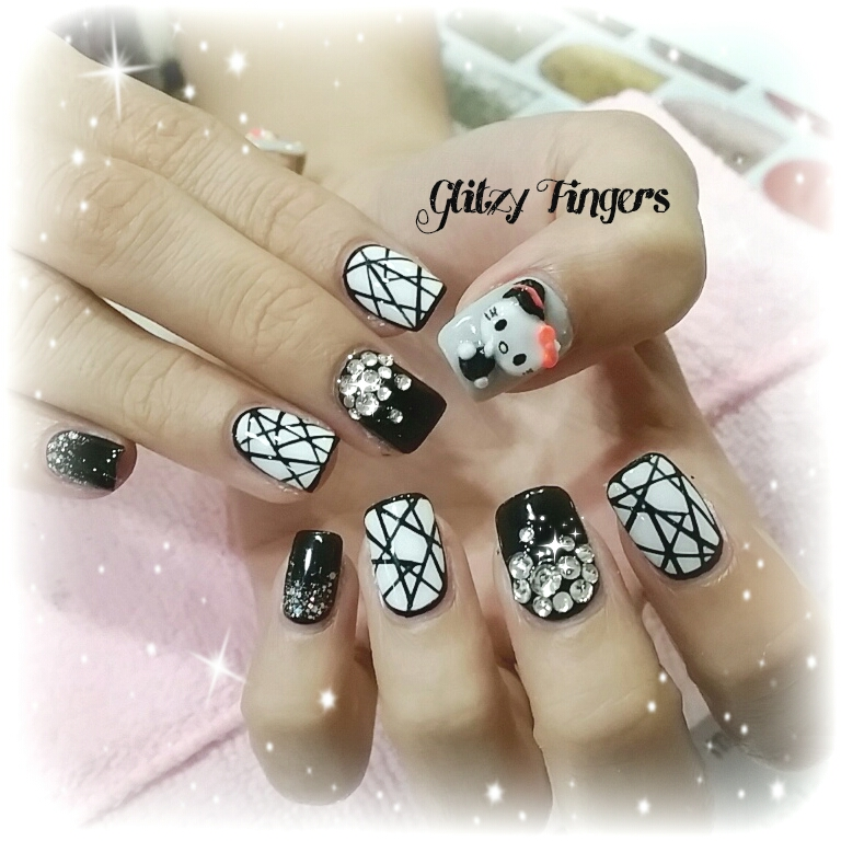 nails + nailart + nailstagram + naildesigns + sgnails + prettynails + gelnails + nailartoftheday + gelish + gelishnails + nailgasm + sgignails + singaporenails + pinkroomnails + angelpronail + cutenails + manicure + angelprogelly + sgig + nailfashion + nailartist + potd + hello kitty nails + geometric nails + black and white nails + studded nails + shiny nails + 3D nails + Hand drawn + hand painted + cute nails + party nails + clubbing nails +