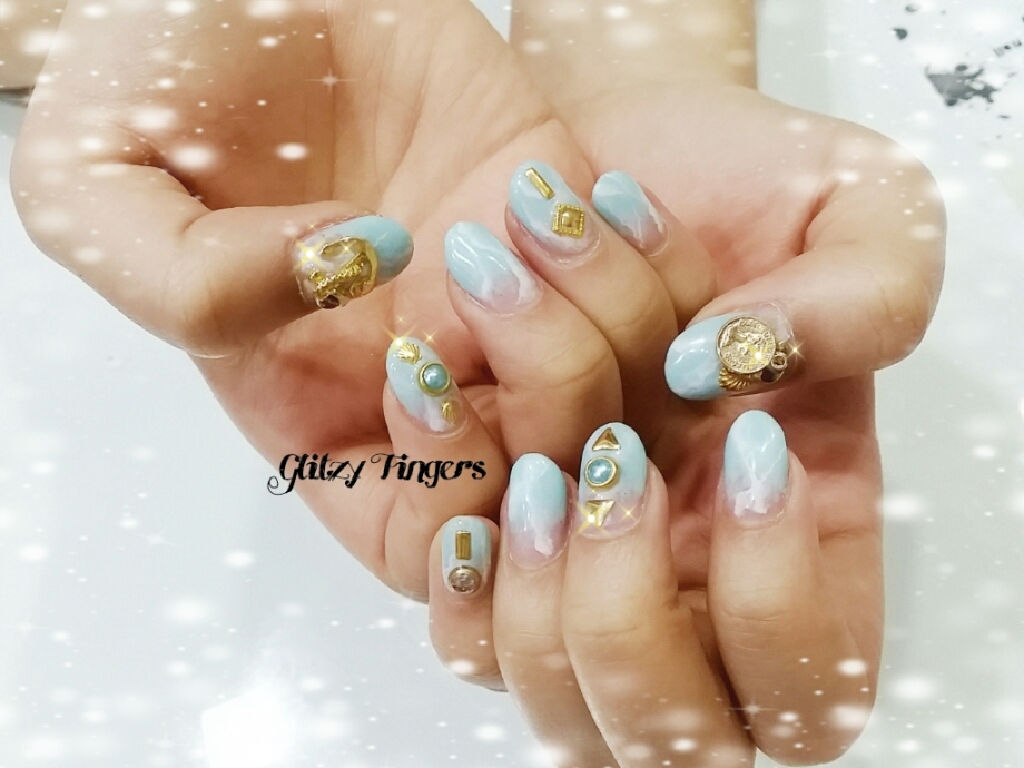 nails + nailart + nailstagram + wordpress nails + nail designs + sg nails + pretty nails + gel nails + nail art of the day + nail art of the month + Nail designs 2015 + gelish + gelish nails + nailgasm + sgignails + singapore nails + pinkroomnails + angelpronail + cute nails + manicure + nail artist + potd + trendy nails + nail trend of the month + studded nails + blue nails + Shiny nails + Pastel nail designs + Glitzy Fingers nails + Gold charms nails + Oceanic nails + themed nails + Event nails + party nails + Cool nails + Nail designs in trend + simplistic nails + simple nail designs + Glitzy Fingers nails