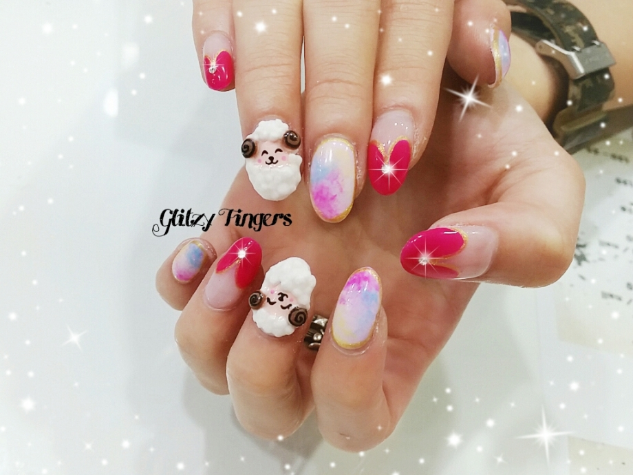 nails + nail art + nailstagram + nail designs + sg nails + sgignails + pretty nails + gelish nails + gel nails + nail art of the day + nail art of the month + festive nails + singapore nails + nailgasm + angelpronail + cute nails + nail artist + manicure + Singapore Manicure + potd + Goat Nails + Zodiac Nails + Goat Year + 3D Nail + Pop Out Nail + Popsicle Nails + Pastel Nails + Pink Nails + Red Nails + CNY Nails + CNY Nail Art + CNY 2015 + Hand Drawn + Hand Painted + Theme Nails + Festive Nails