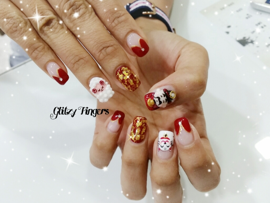 nails + nail art + nailstagram + nail designs + sg nails + sgignails + pretty nails + gelish nails + gel nails + nail art of the day + nail art of the month + festive nails + singapore nails + nailgasm + angelpronail + cute nails + nail artist + manicure + Singapore Manicure + potd + Hand Drawn + Hand Painted + Goat Nails + Goat Designs + Zodiac Nails + God of Fortune Nails + Festive Nails + Shiny Nails + Foil Nails + Fashionable Nails + Trendy Nails + CNY Nails 2015 + CNY Nails +
