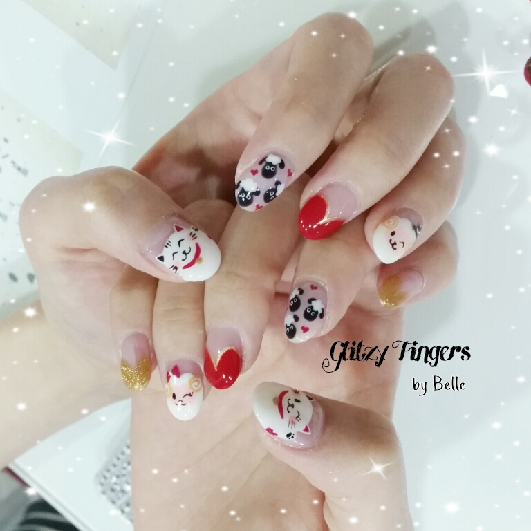 nails + nail art + nailstagram + nail designs + sg nails + sgignails + pretty nails + gelish nails + gel nails + nail art of the day + nail art of the month + festive nails + singapore nails + nailgasm + angelpronail + cute nails + nail artist + manicure + Singapore Manicure + potd + hand Drawn + hand painted + fortune cat nails + Cny Nails 2015 + CNY Nail Art + Sheep Nails + Cute Nails + Cartoon Nails + Singapore Nails + Singapore Manicure +