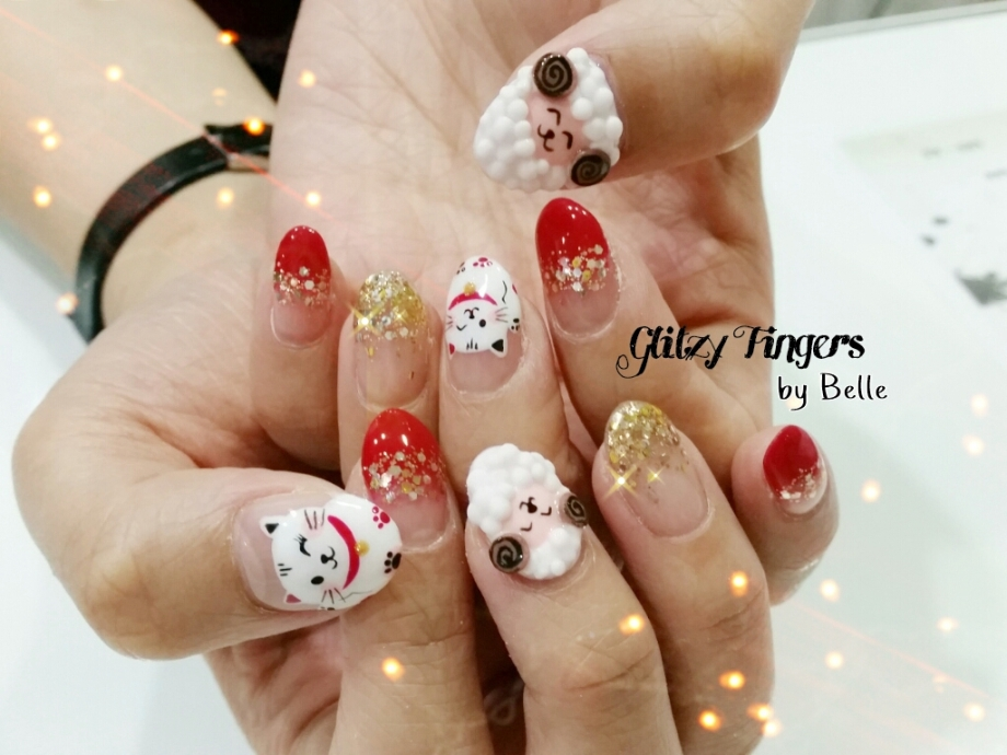 nails + nail art + nailstagram + nail designs + sg nails + sgignails + pretty nails + gelish nails + gel nails + nail art of the day + nail art of the month + festive nails + singapore nails + nailgasm + angelpronail + cute nails + nail artist + manicure + Singapore Manicure + potd + 3D Nail + Hand Drawn + Hand Painted + Zodiac Nail Art + Goat Nails + Fortune Cat + Shiny Nails + Red Theme Nails + Singapore Manicure + Singapore Nails + CNY Nails + CNY 2015 + CNY Nail Designs + Festive Nails +